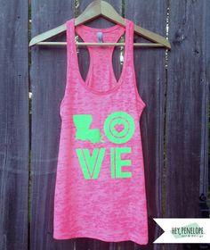 Throwback LOVE Ladies Tank in Neon Pink