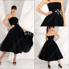 Wholesale Best Style Strapless Bridesmaid Gown Black Tulle Net Tea Length Cocktail Party Dresses J121, Free shipping, $98.63-118.72/Piece | DHgate