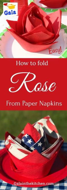 Easy paper napkin folding ideas (5 on the page). The rose technique so easy, we need just glass and 6 napkins with texture.Welcome to visit for more details with photos and video my website Galainthekitchen.com