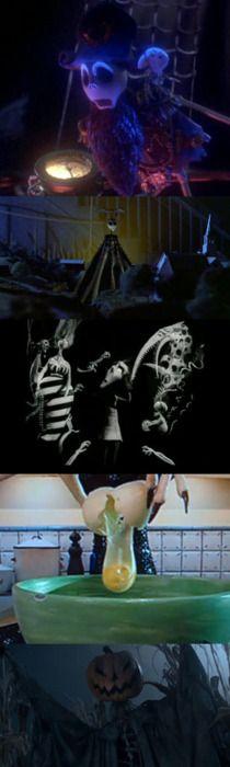 Jack Skellington Cameos-James and the Giant Peach, Beetlejuice  Vincent (far left), Coraline, Sleepy Hollow