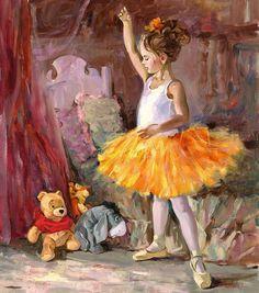 "Disney Fine Art - ""My First Audience"" (Pooh, Tigger and Eeyore from Winnie the Pooh) - Irene Sheri Art Ballet, Ballet Painting, Ballet Dancers, Ballerinas, Arte Peculiar, Cute Bear, Disney Fine Art, Eeyore, Tigger"