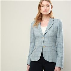 Blue Lily Checked Donegal Tweed Tailored Fit Jacket Seasonal collections from Tweed Coat, Tweed Jacket, Donegal, Professional Outfits, Spring Summer 2018, Knitwear, Women Wear, Lily, Clothes For Women