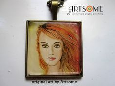 Items similar to Graphic original art painting pendant on chain - Flora, Spring on Etsy