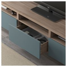 IKEA - BESTÅ TV unit with drawers walnut effect light gray, Valviken