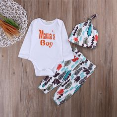 Fashion Cotton Mom's Boy Infant Baby Boy Girl Outfits Clothes Romper Pants Leggings 3PCS Set Cotton #Affiliate