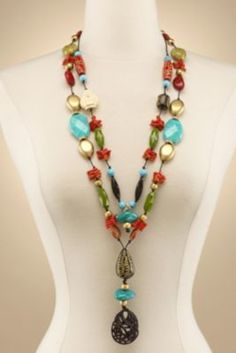 Nanjing Necklace - Red Coral Bead Necklace, Turquoise Bead Necklace | Soft Surroundings