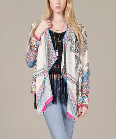 Love this Ivory & Blue Abstract Open Cardigan by Flying Tomato on #zulily! #zulilyfinds