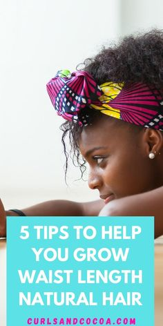 Want to know the secret to growing your natural hair to waist length? Well find out here! 5 tips to help you out. Natural Hair Regimen, Natural Hair Care Tips, How To Grow Natural Hair, Long Natural Hair, Natural Hair Growth, Natural Hair Styles, Wild Growth Hair Oil, Black Hair Growth, Hair Growth Tips