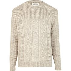 Stone chunky cable knit jumper (perfect with dark blue slim fit denims and brown leather boots)