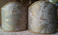 Pair of Clip-On Wall Sconces Shield Shades Jade Green and Gold Jacquard Rubelli Fabric Mirage Pattern Mini Lampshade - Handmade in Italy by OggettiVeneziani on Etsy