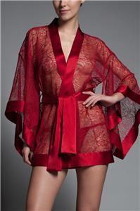 NWT Kiki de Montparnasse $2600 Red Chantilly Lace + Silk Kimono Robe - M/L - $600 or Best Offer!