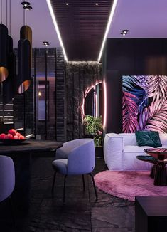 - Tropical apartment - on Behance Home Interior Design, Interior Architecture, Interior And Exterior, Interior Decorating, Home Living Room, Living Room Designs, Living Room Decor, Loft House Design, Interior Tropical