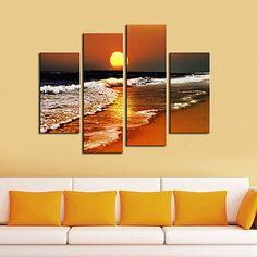 Lienzo de la lámina del arte del paisaje de la playa en la puesta del sol Set de 4 2018 - $1529.79