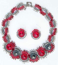 Swarovski Crystal Bicones Rivoli Red Black Hand Beaded Necklace Earrings Set | eBay
