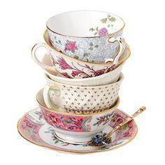 Mismatched tea sets