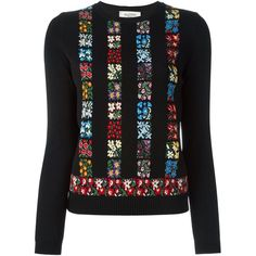 Valentino Floral Intarsia Sweater ($2,290) ❤ liked on Polyvore featuring tops, sweaters, black, black top, intarsia sweater, valentino sweaters, black floral top and long sleeve tops