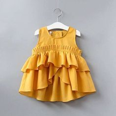 Cheap kids dress, Buy Quality dress style directly from China style dress Suppliers: Kid Dress New Summer 2017 Girl's Bohemian Style Sweet Party Sleeveless Fold Solid Color Dress Sweety Kid's Dress Girls Frock Design, Baby Dress Design, Baby Girl Dress Patterns, Kids Outfits Girls, Little Girl Dresses, Girl Outfits, Girls Dresses, Kids Girls, Baby Girl Frocks