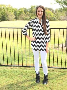 Black Chevron Blouse Aren't these blouses to die for?!?! We LOVE that this blouse can be dressed up or down for any occasion!! It is great for a work day outfit paired with slacks and heels OR a night on the town outfit with skinny jeans and booties! Featuring one pocket front and button tab at sleeves so you can roll them up!  https://www.facebook.com/shopalittlepeaceofjoy