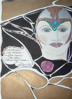 I Choose-Poetry, Prismacolor pencils and ink from the Book of Legend-Ravens At My Window/Roses On My Wall  2012  Deborah K. Tash