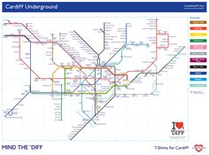 I Loves The 'Diff Cardiff Underground map Cardiff City Centre, Welsh English, Underground Map, Welsh Gifts, Seating Plan Wedding, Wedding Table, Funeral Tributes, Fantasy Map, Cymru