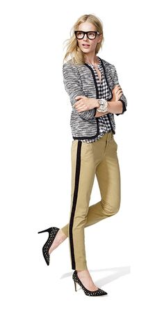 College Prep: Tuxedo striped trousers + blazer + glasses   J.crew
