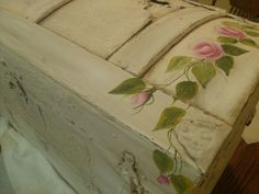 hand painted trunks | Hand Painted Vintage trunk by Cindy Lawhon