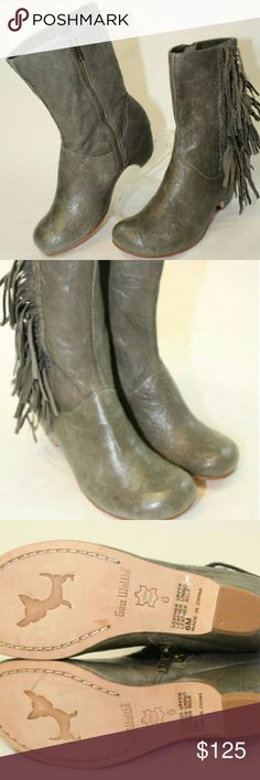 NWOB Gee Wawa Booties Lamb Leather 6 Gee WaWa NEW Tastey Womens 6 M Olive Gray Lamb Leather Fringed Ankle Boots  Brand new without box.  Genuine lamb leather, model Tastey, color Olive Gray.  These beauties measure approx 9.15 inches from heel to toe on the outsole.  The widest part of the sole measures approx. 3.25 inches across on the outsole.  The heel height is approx. 1.85 inches.  The shaft height of the boot measures approx 7.75 inches.  The outer circumference of the top of the boots…
