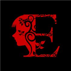 Graphic Design of Flower Clipart - Red Alphabet E with Black Background