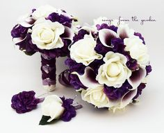 Wedding Package Real Touch Picasso Callas Roses Purple Hydrangea Real Touch Rose Bridal Bouquet Grooms Boutonniere