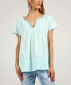 Look at this #zulilyfind! Peace and Love Green Water Embellished Pleated V-Neck Top by Peace and Love #zulilyfinds