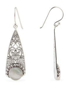 image of Made In Bali Sterling Silver Oxidized Filigree Drop Earrings