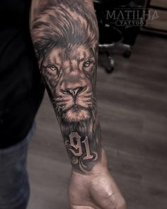 Lion Forearm Tattoos, Lion Head Tattoos, Mens Lion Tattoo, Forarm Tattoos, Leo Tattoos, Bild Tattoos, Tribal Tattoos, Lion Sleeve, Animal Sleeve Tattoo