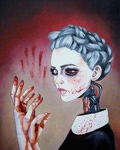 Bloody Hands, source - http://lucyod10.tumblr.com/ #art #painting #drawing #hands #face #head #girl #woman #cyberpunk #robot
