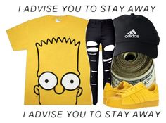 """""""bart simpson💛"""" by qveentricee ❤ liked on Polyvore featuring adidas, WithChic and adidas Originals"""