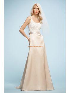 Watters A-linie Lange Schlichte Brautkleider aus Taft mit Applikation