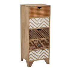 Chiffonnier design composé de 5 tiroirs. Sur ce meuble, des impressions ont été faites à la main sur les tiroirs en bois, chacun affichant un