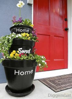 Home Sweet Home pots for the front porch.but I still love my topsy turvey clay pots in my front yard. Garden Planters, Planter Pots, Tiered Planter, Planter Ideas, Porch Planter, Tiered Garden, Outdoor Planters, Outdoor Projects, Diy Projects