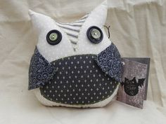 Halloween pillow creepy cute stuffed owl by blackwoodcottage