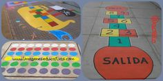 Patio con juegos pintados http://www.imageneseducativas.com/juegos-tradicionales-para-el-patio-del-cole-pinta-tu-patio-para-jugar/