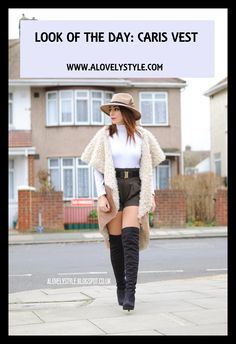Look of the day. How to wear a pair of high waisted shorts with over the knee boots. Visit my web for more :)  http://www.alovelystyle.com/?p=36