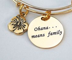 Gold Stainless Steel Charm  Ohana ... means by MyInitialCharm