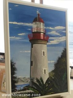 An original oil painting of Slangkop (Snake Head) Lighthouse on the West Coast of South Africa.  This lighthouse is situated near the town of Kemmtjie in Cape Town.  Construction was finalised in 1919 but took many years to build, due to the interruption of the First World War.