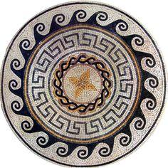 Greco-Roman Medallion Table Top or  Floor Mosaic Art Handmade. MM005B