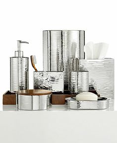 Hotel Collection Polished Hammered Metal Bath Accessories Collection - Bathroom Accessories - Bed & Bath - Macy's