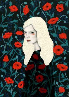 """Poppy"" Sofia Bonati Behance.net art blonde lady painting Girls with patterns"