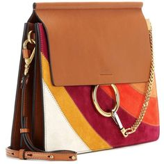 Chloé Faye Rainbow Patchwork Suede and Leather Shoulder Bag ($2,425) ❤ liked on Polyvore featuring bags, handbags, shoulder bags, suede shoulder bag, leather handbags, leather patchwork purse, suede purse and suede handbags