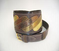 Dazzling Degrade Snake Leather Belt by elehandmade on Etsy, $105.00