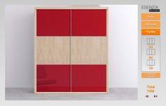 Armario con dos puertas paneladas con paneles en color rojo y piedra DP