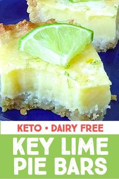 Dairy free keto key lime pie bars taste like the real deal! These are sugar free and grain free too! Dairy free keto key lime pie bars taste like the real deal! These are sugar free and grain free too! Dairy Free Keto Recipes, Sugar Free Recipes, Cookie Recipes, Lime Desserts, Sugar Free Desserts, Plated Desserts, Low Carb Sweets, Low Carb Desserts, Sugar Free Key Lime Pie