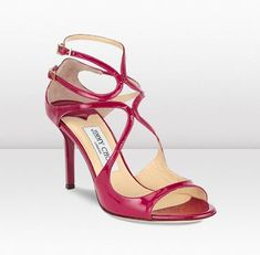 "Freaking gorgeous Jimmy Choo shoes - ""Ivette"" in raspberry patent leather."
